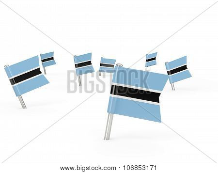 Square Pins With Flag Of Botswana
