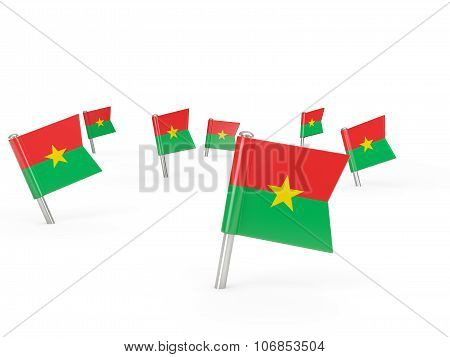 Square Pins With Flag Of Burkina Faso