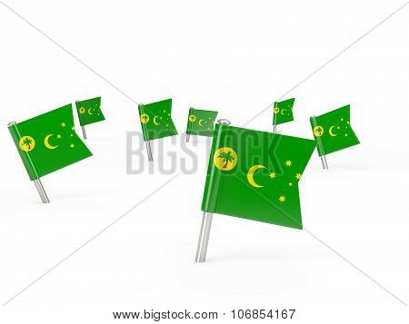 Square Pins With Flag Of Cocos Islands
