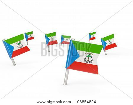 Square Pins With Flag Of Equatorial Guinea
