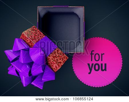 Render Cg Illustration Top View Gift Box Purple Opened Cover Cap Lid Violet Empty Present Case On Vi