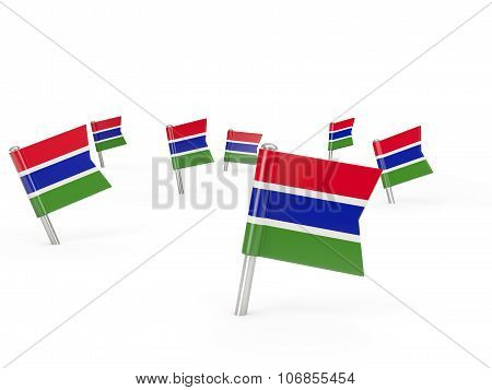 Square Pins With Flag Of Gambia