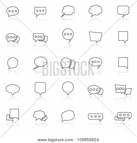 Speech Bubble Line Icons With Reflect On White Background