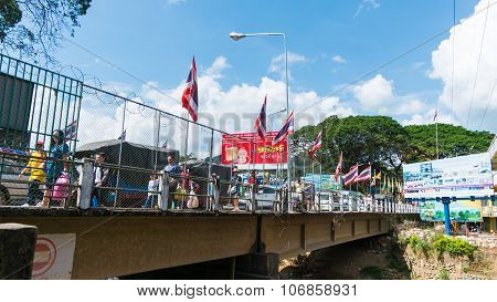 Bridge over The river border Thailand and Mynmar