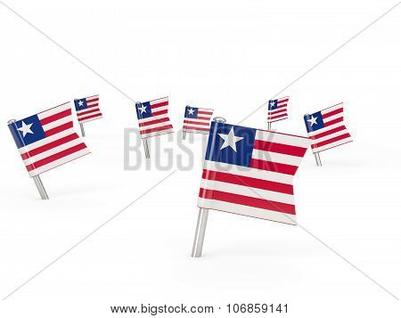 Square Pins With Flag Of Liberia