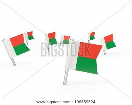 Square Pins With Flag Of Madagascar