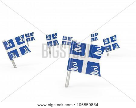 Square Pins With Flag Of Martinique
