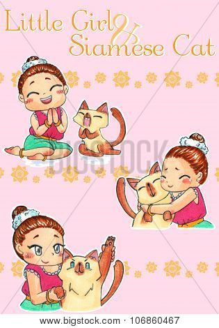Cute Cartoon Character Mascot Illustration Drawing Art Of Traditional Thai Girl Child In Old-fashion