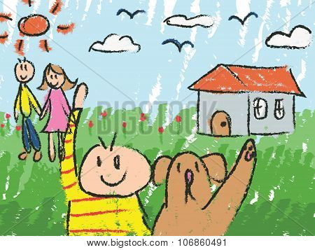 Kindergarten Children Color Doodle Drawing Sketch Of Cartoon Character Of A Boy With His Pet Dog Wit