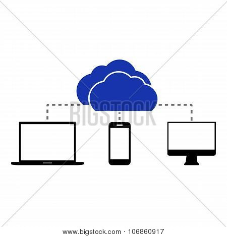 Flat Cloud Computing Background. Data Storage Network Technology.