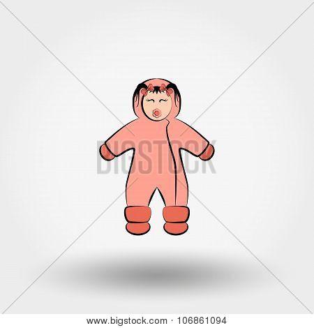 Child in winter overalls icon.