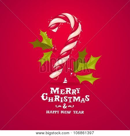 Christmas candy cane and holly greeting card