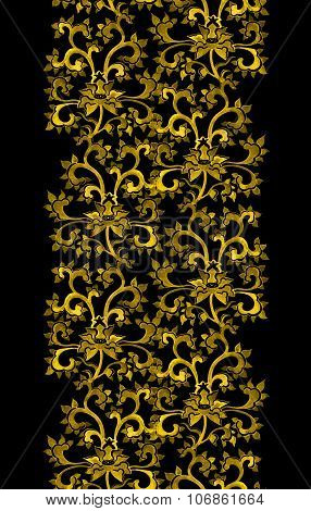 Repeat floral ornamental border with chinese golden flowers