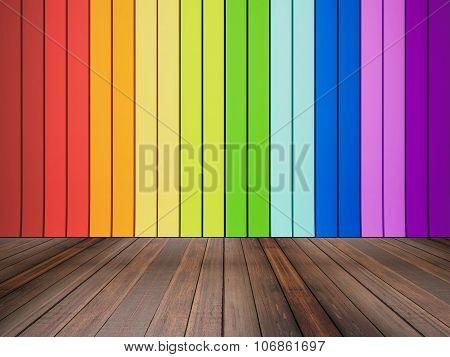 hardwood floor and colorful wall panel