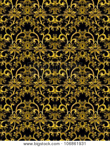 Seamless floral ornamental pattern with chinese golden flowers