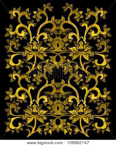 Floral ornamental pattern with chinese golden flowers.