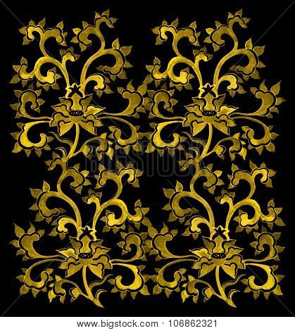 Floral ornamental pattern with chinese golden flowers