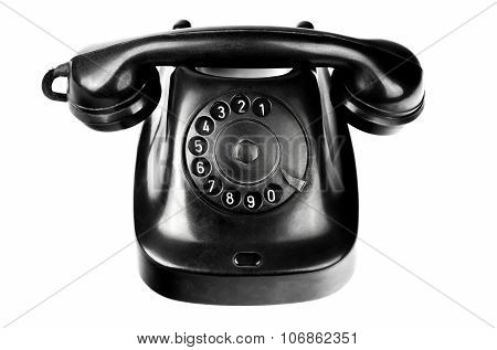 Old-styled Black Telephone With Rotary Dial Isolated