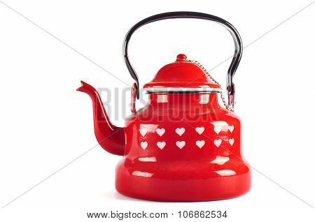 Red Kettle Isolated On White With Clipping