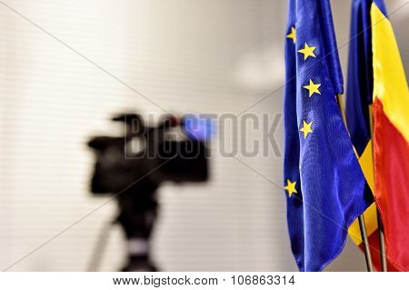Eu And Romania Flags During Press Conference