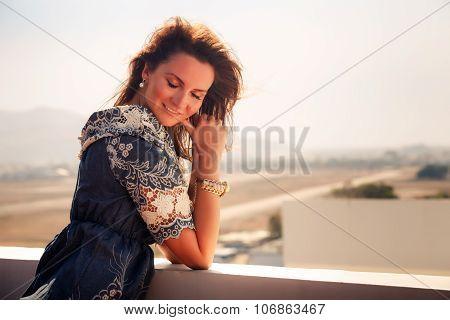 Brunette Girl In Short Jeans Dress
