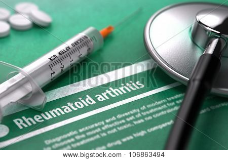 Rheumatoid arthritis. Medical Concept on Green Background.