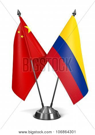 China and Colombia - Miniature Flags.