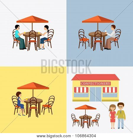 Set Of People In Cafe