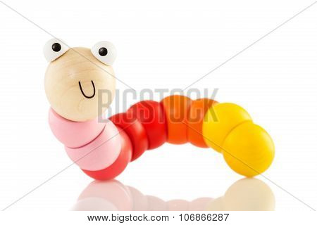 Wooden Baby Toy Worm Isolated On White