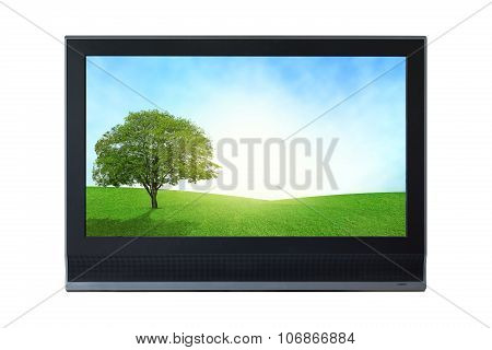 Lcd Television Monitor Partition Isolated On White Background.
