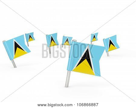 Square Pins With Flag Of Saint Lucia