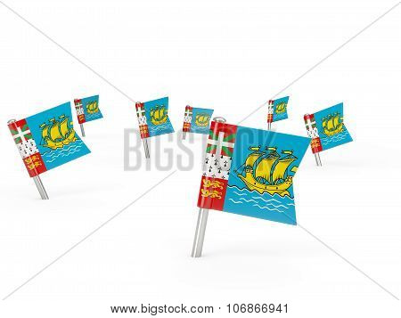 Square Pins With Flag Of Saint Pierre And Miquelon