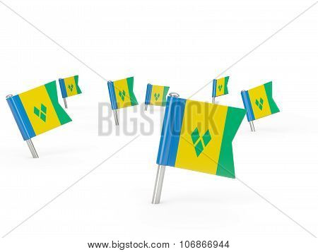 Square Pins With Flag Of Saint Vincent And The Grenadines