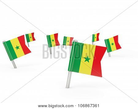 Square Pins With Flag Of Senegal