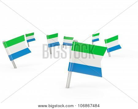 Square Pins With Flag Of Sierra Leone