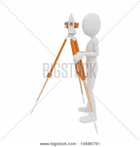 3D Man With Theodolite Measuring