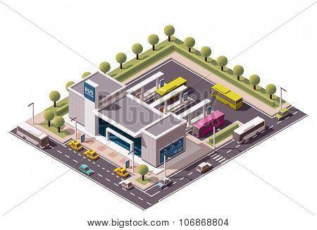 Isometric icon representing bus terminus
