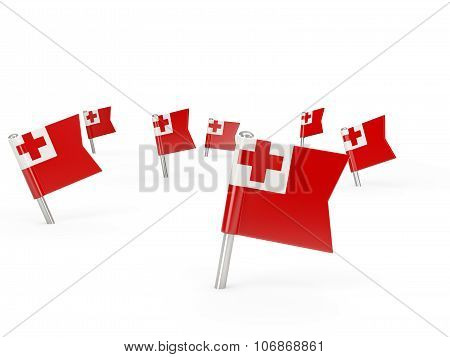 Square Pins With Flag Of Tonga
