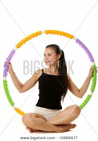Fitness Girl With Plastic Hoop