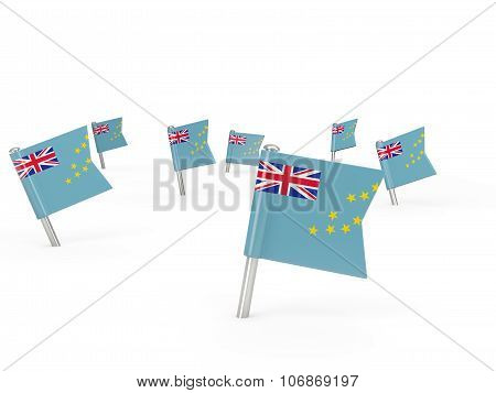 Square Pins With Flag Of Tuvalu