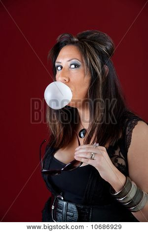 New Jersey Housewife Blowing A Bubble