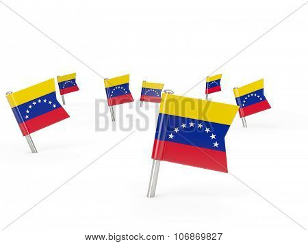 Square Pins With Flag Of Venezuela