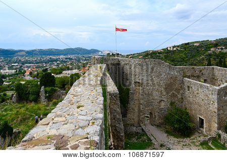 The Walls Of Ancient Fortress In Old Bar, Montenegro