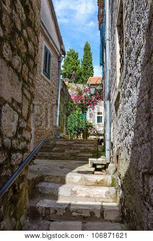 The Narrow Street In Old Town Of Herceg Novi, Montenegro