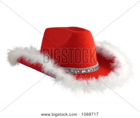 Christmas Cowboy Hat With Fluffy Rim