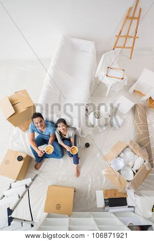 Couple in new house