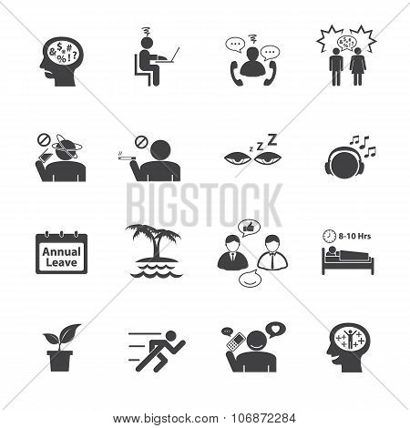 Stressed and Refreshing. Vector icons set.