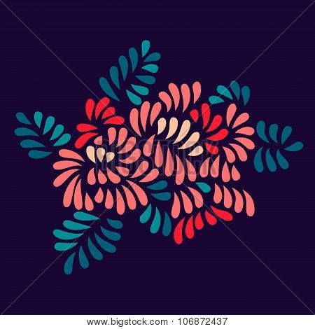 Pastel colored stylized flowers and leaves bouquet on dark, vector