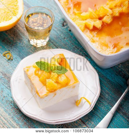 Cheesecake, cottage cheese pudding with fresh oranges, marmalade, jam glaze.