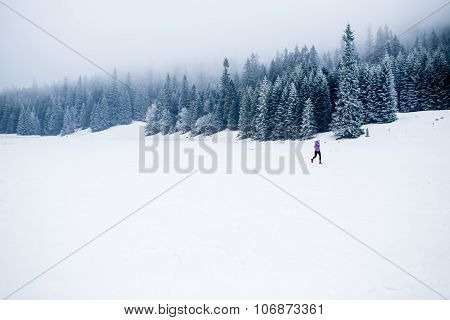 Winter Running Woman, Jogging Inspiration And Motivation